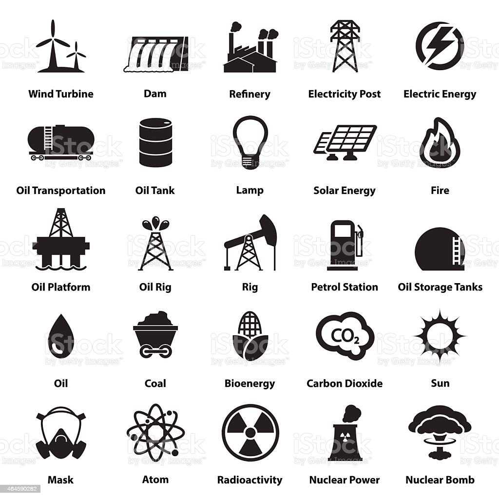 Energy, electricity, power icons Signs and Symbols vector art illustration