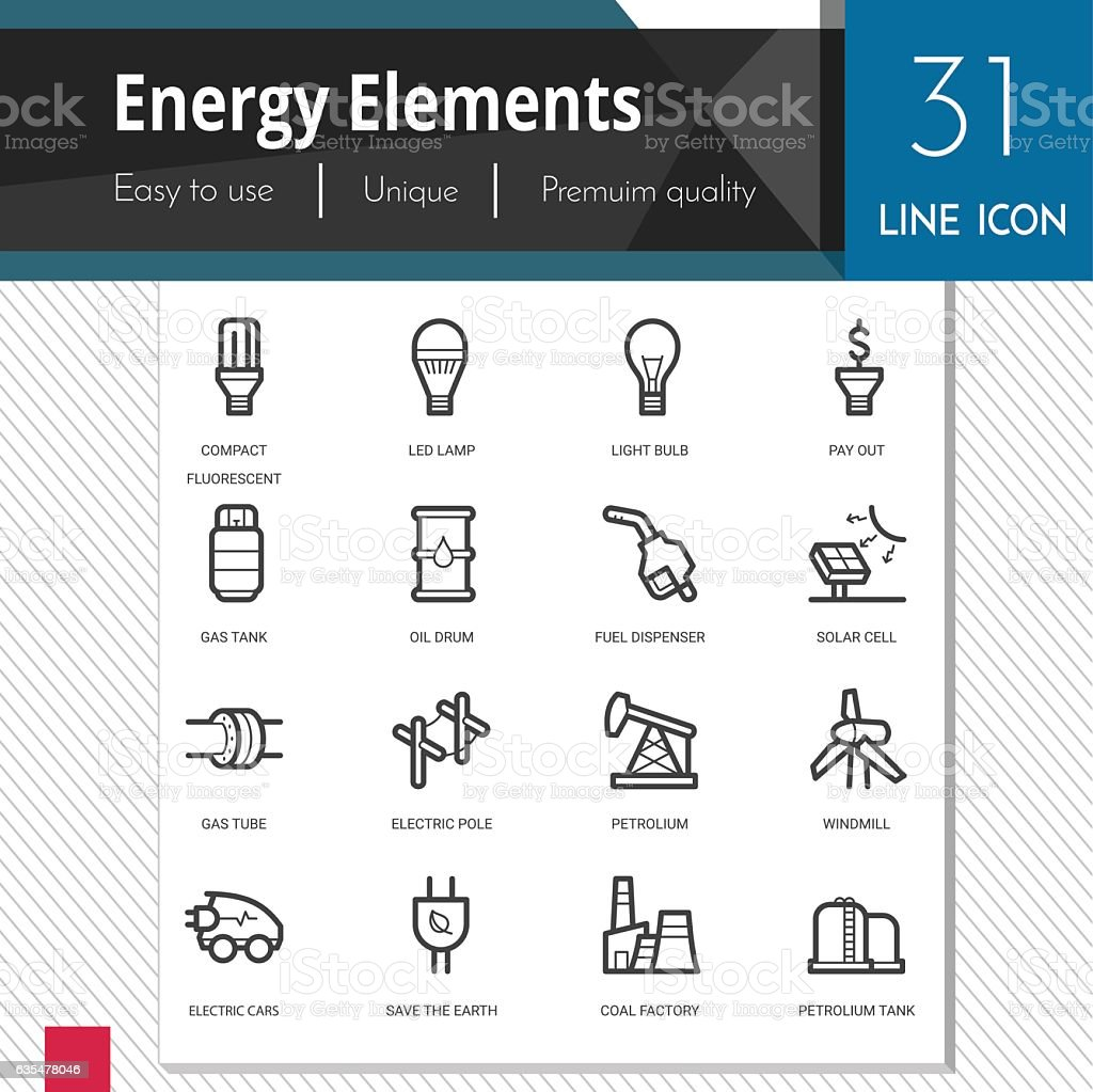 Energy elements vector icons set on white background. vector art illustration