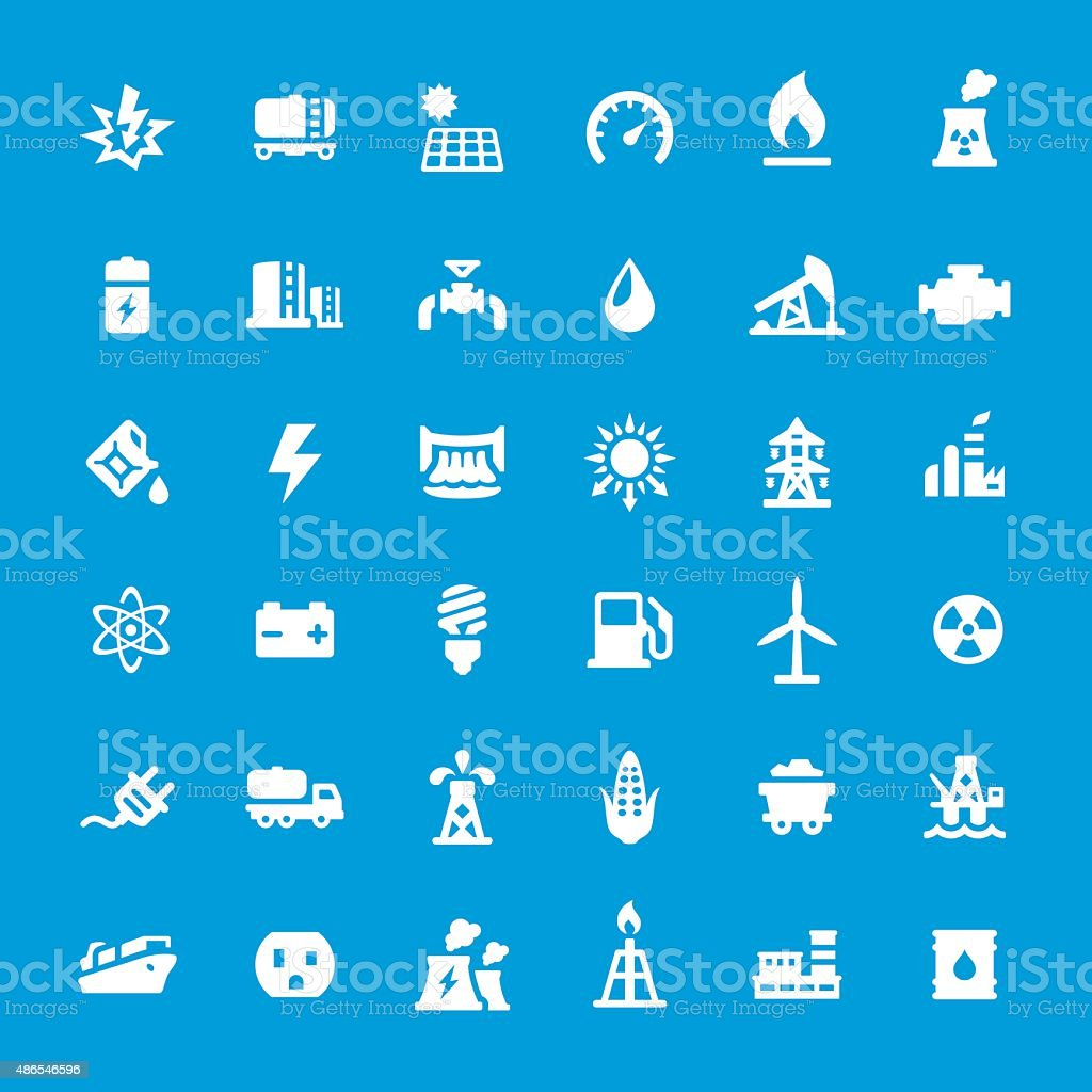 Energy Generation vector icons set vector art illustration