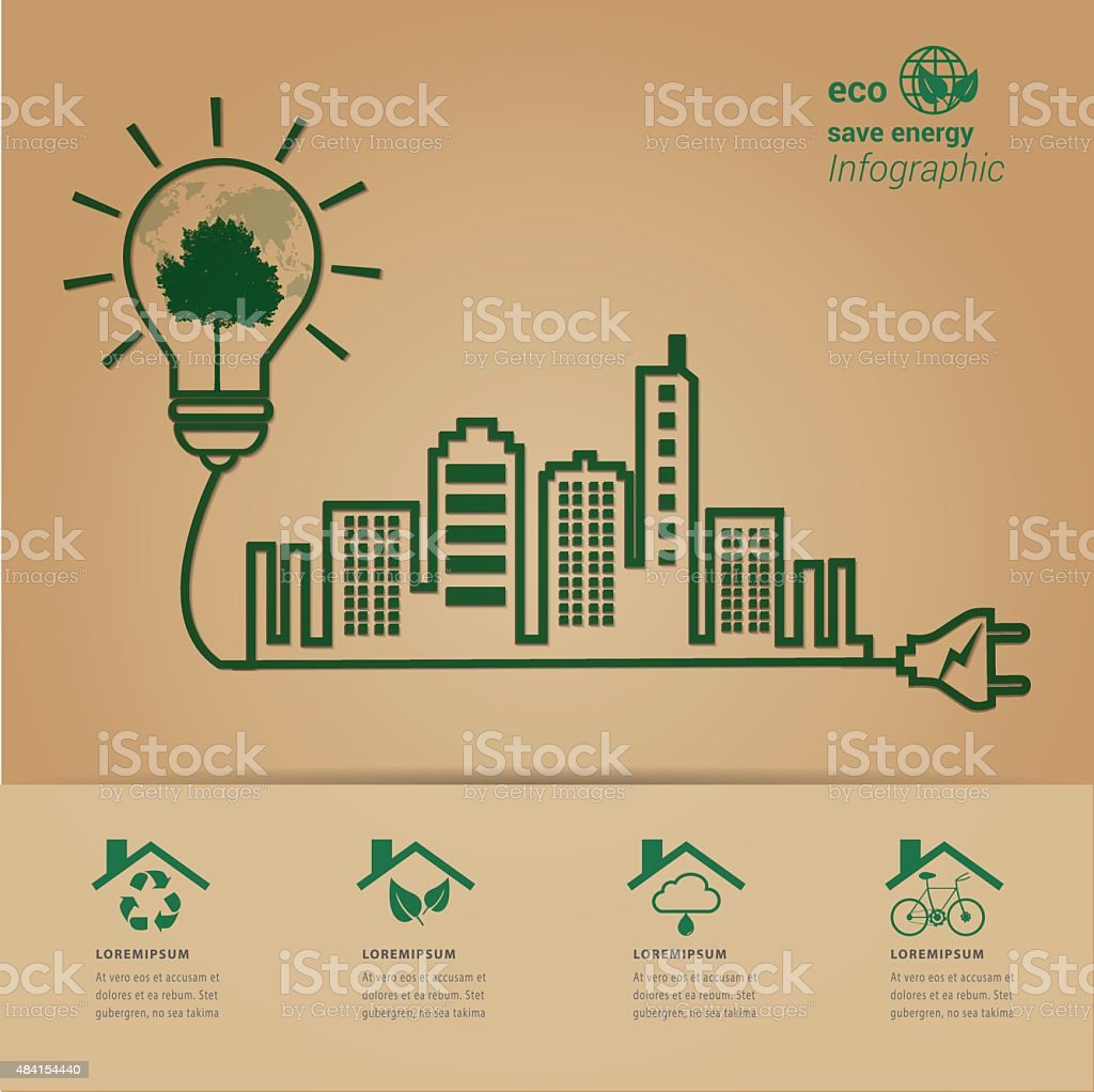 ECO energy green city concept. vector art illustration