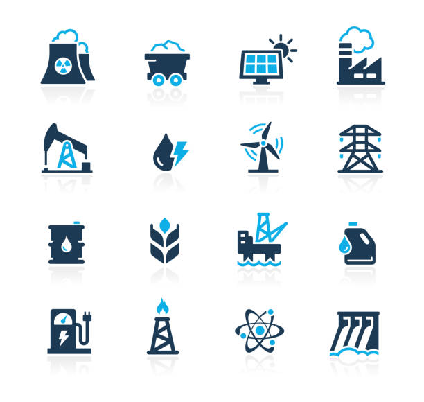 Energy Icons // Azure Series Vector energy related icons for your web or printing proyects. oil and gas stock illustrations