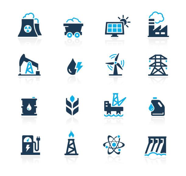 stockillustraties, clipart, cartoons en iconen met energie-pictogrammen//azure-serie - renewable energy