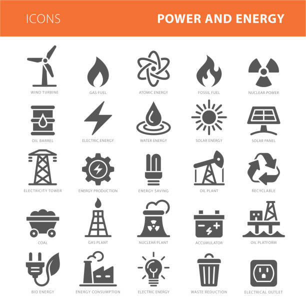 illustrazioni stock, clip art, cartoni animati e icone di tendenza di energy icons grey vector illustration set - benzina