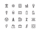 20 pixel perfect Energy icon set in outline style