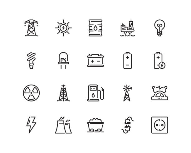 Energy icons, outline style 20 pixel perfect Energy icon set in outline style tower stock illustrations