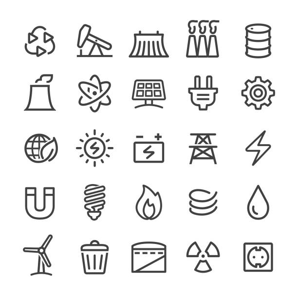Energy Icons - Smart Line Series Energy, fuel and power generation, environment, recycling, technology oil drum stock illustrations