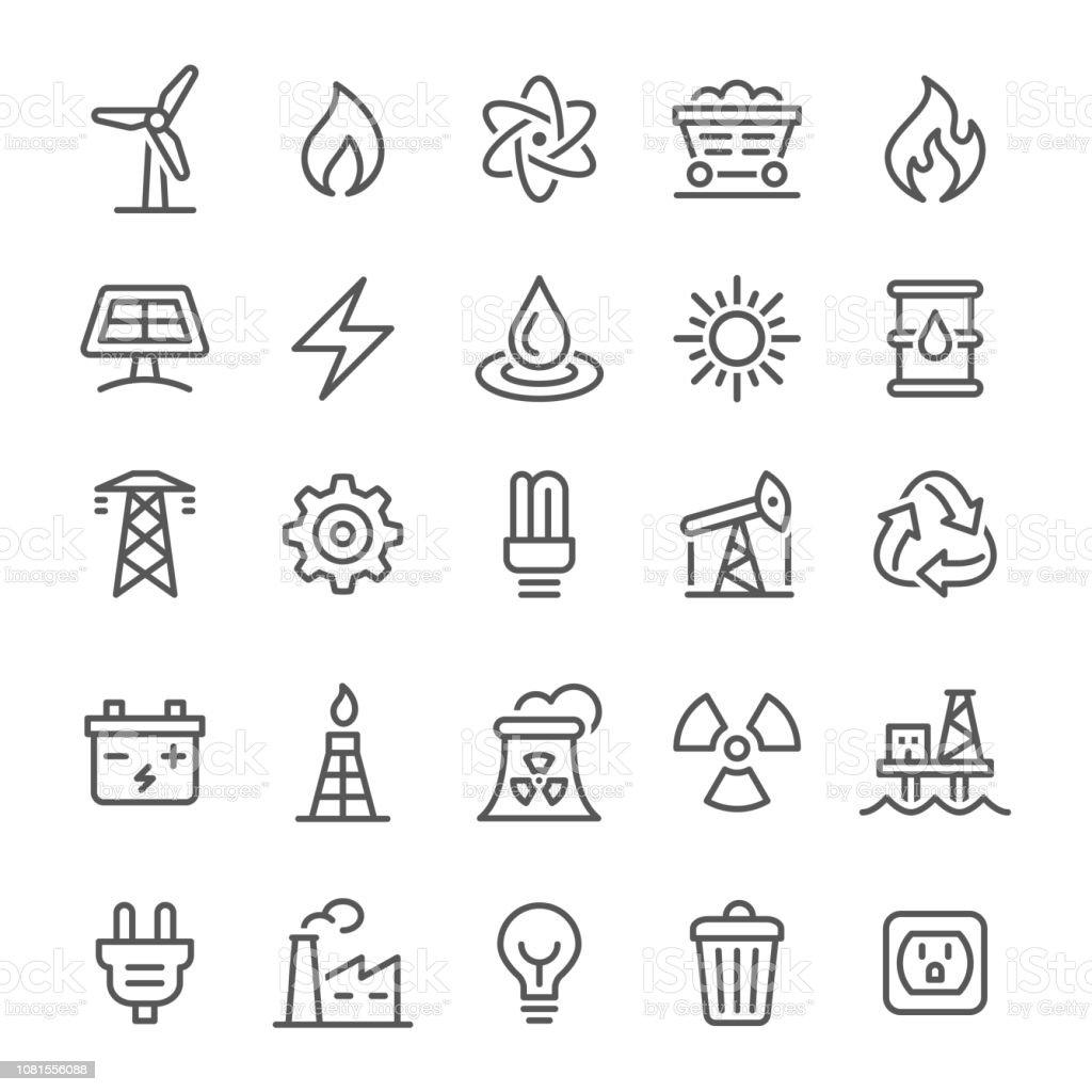 Energi ikoner - vektor Line serien - Royaltyfri Atom vektorgrafik