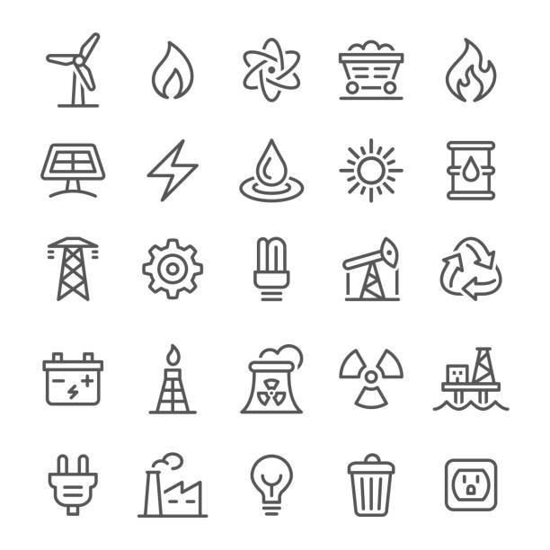 ikony energii - seria linii wektorowych - przewód składnik elektryczny stock illustrations