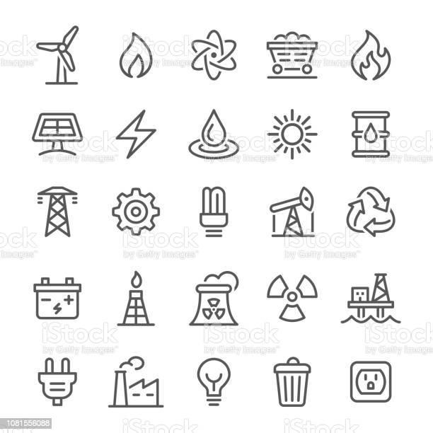 Energi Ikoner Vektor Line Serien-vektorgrafik och fler bilder på Atom