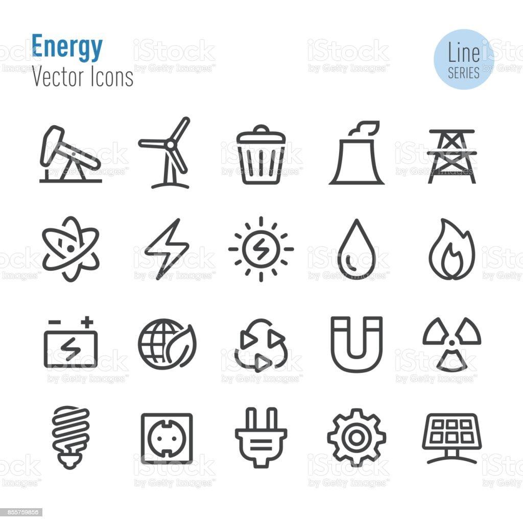 Ícones de energia - vetor linha série - ilustração de arte em vetor