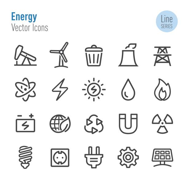 Energy Icons - Vector Line Series Energy, Environmental Conservation, Environment, Technology sustainable energy stock illustrations
