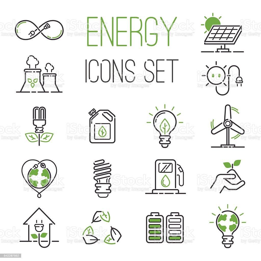 Energy icons vector set. vector art illustration