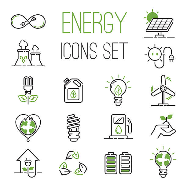 energy icons vector set. - energy saving stock illustrations, clip art, cartoons, & icons