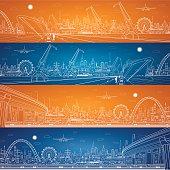 Energy industrial panorama, cargo port panorama