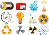 Energy Industry Icons with a variety of symbols to promote power and clean energy use.  Clean smooth icons.  Check out more in the series.