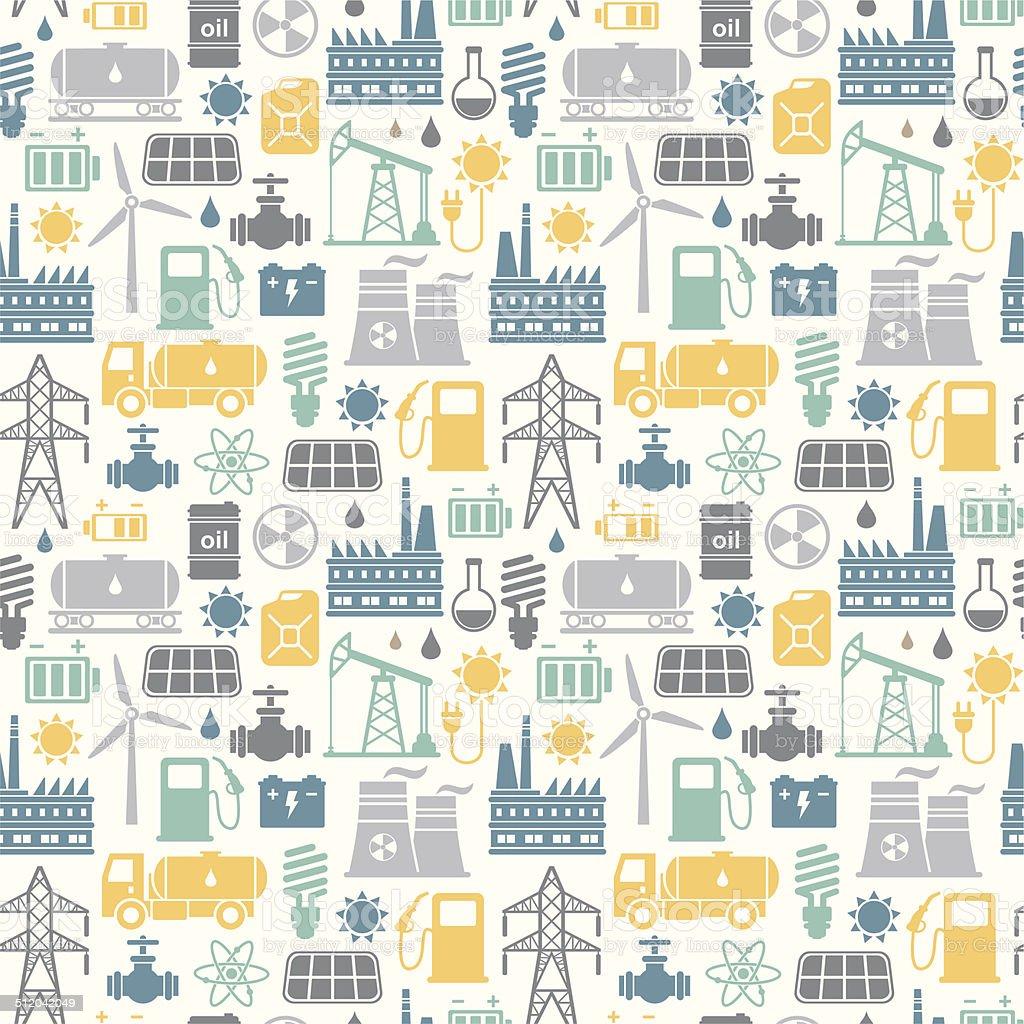 energy industry seamless background vector art illustration