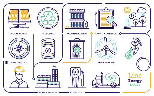 Energy Line Icon Set