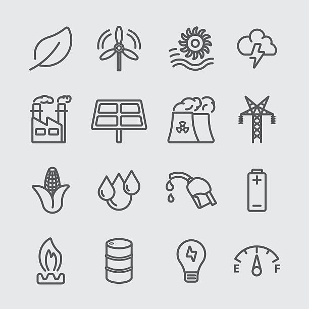 Energy line icon Energy line icon oil drum stock illustrations