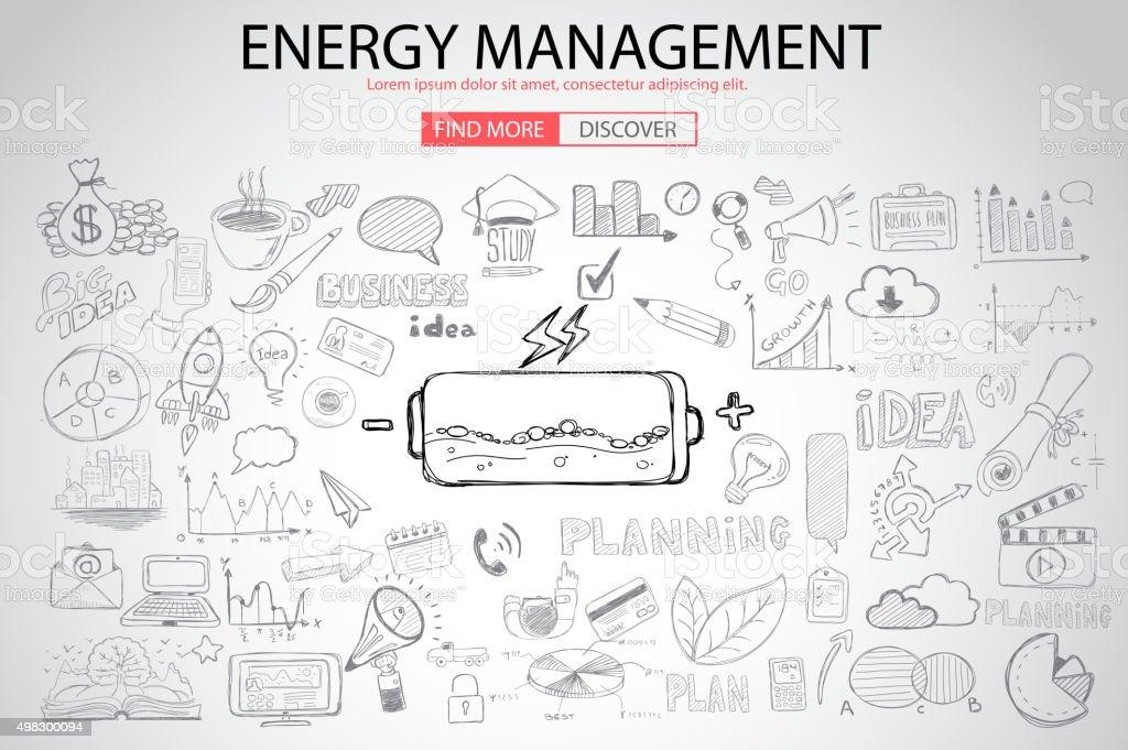 エネルギー管理、落書きデザインスタイル ベクターアートイラスト