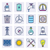 Energy markets and sustainability outline style concept with symbols. Flat line vector icons set for infographics, mobile and web designs.