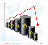 Oil Barrels on Downtrend Graph. Energy Crisis