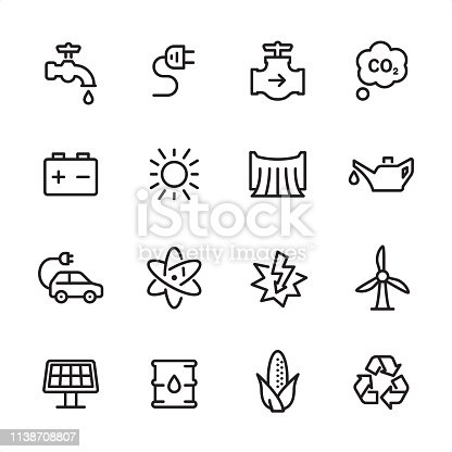 16 line black on white icons / Energy Set #87 Pixel Perfect Principle - all the icons are designed in 48x48pх square, outline stroke 2px.  First row of outline icons contains:  Faucet, Electric Plug, Gas Pipe, Carbon Dioxide;  Second row contains:  Car Battery, Sun, Dam, Oil Can;  Third row contains:  Electric Car, Nuclear Energy, Lightning, Wind Turbine;   Fourth row contains:  Solar Energy, Oil Drum, Bioenergy, Recycling Symbol.  Complete Inlinico collection - https://www.istockphoto.com/collaboration/boards/2MS6Qck-_UuiVTh288h3fQ