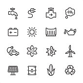 16 line black on white icons / Energy Set #87\nPixel Perfect Principle - all the icons are designed in 48x48pх square, outline stroke 2px.\n\nFirst row of outline icons contains: \nFaucet, Electric Plug, Gas Pipe, Carbon Dioxide;\n\nSecond row contains: \nCar Battery, Sun, Dam, Oil Can;\n\nThird row contains: \nElectric Car, Nuclear Energy, Lightning, Wind Turbine; \n\nFourth row contains: \nSolar Energy, Oil Drum, Bioenergy, Recycling Symbol.\n\nComplete Inlinico collection - https://www.istockphoto.com/collaboration/boards/2MS6Qck-_UuiVTh288h3fQ