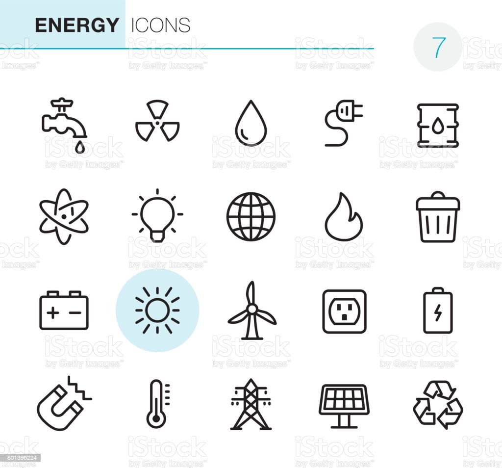 Energy - Pixel Perfect icons vector art illustration