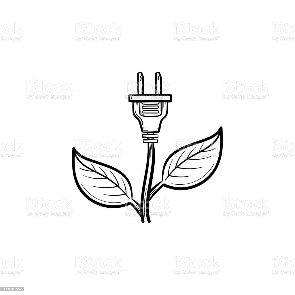 Energy plug hand drawn sketch icon vector art illustration