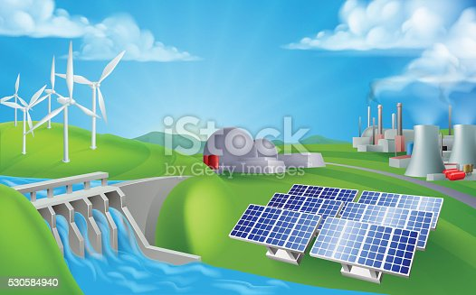 Energy Power Generation Sources Stock Vector Art Amp More
