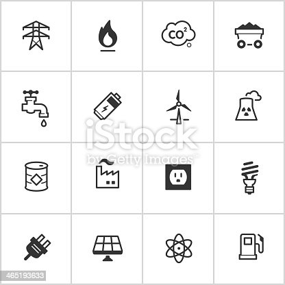 Simple vector icon set representing energy resources and concepts.