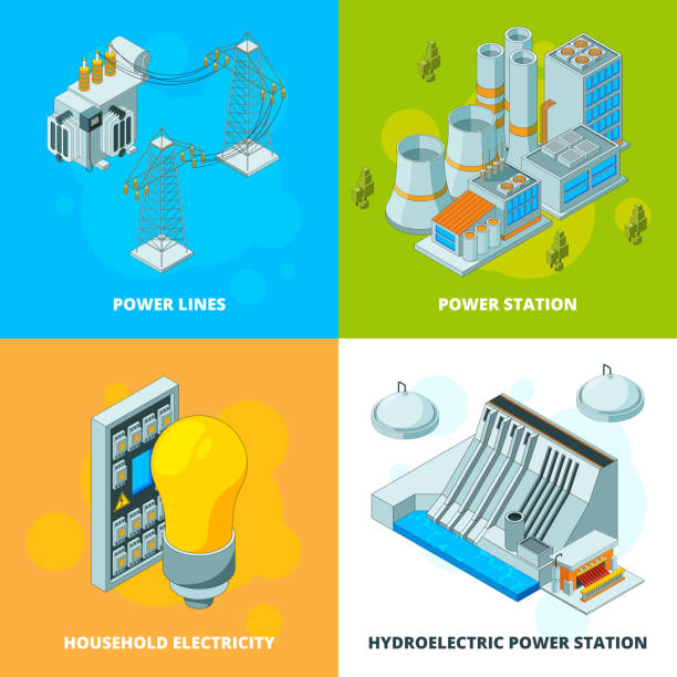 Energy power stations. Electrical symbols generator high voltage transmission vector isometric concept pictures Energy power stations. Electrical symbols generator high voltage transmission vector isometric concept pictures. Ilustration of power electricity isometric, station construction infrastructure transformer stock illustrations