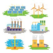 Energy producing stations infographic elements. Vector flat design.