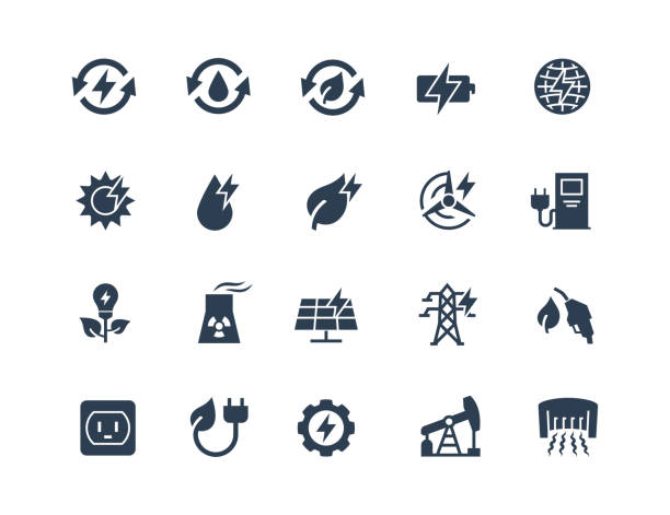 Energy Related Vector Icon Set in Glyph Style vector art illustration