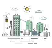 Energy saving and environmentally friendly technologies, alternative energy sources. City street in flat linear style with wind turbine, solar panel and electromobile.