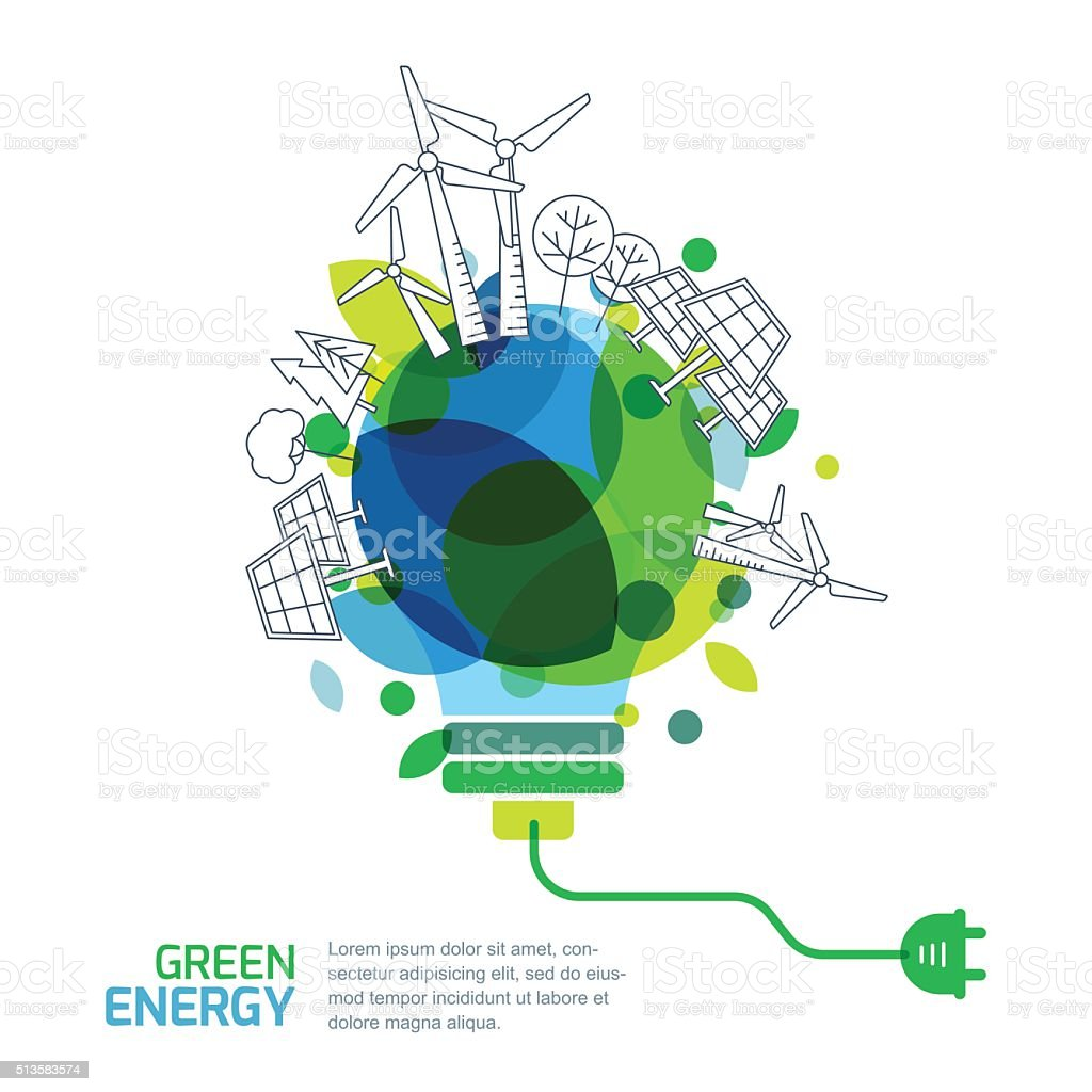 Energy saving concept. Green renewable energy and environmental. vector art illustration