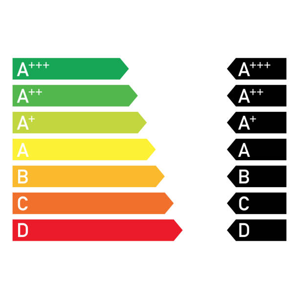 illustrazioni stock, clip art, cartoni animati e icone di tendenza di energy saving efficiency diagram colourful common style - banchi scuola