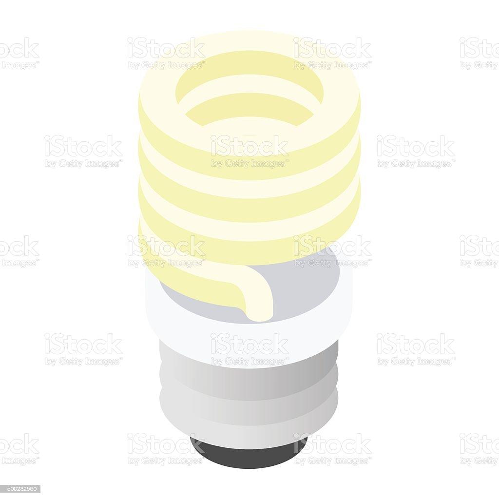 Energy saving fluorescent light bulb icon vector art illustration