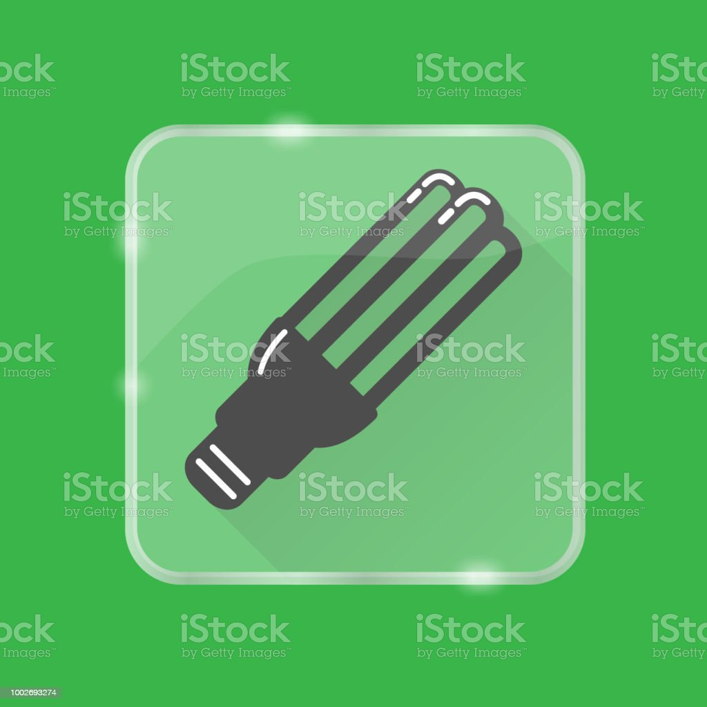 Energy Saving Fluorescent Light Bulb Silhouette Icon On Transparent Saver Circuit Button Royalty Free