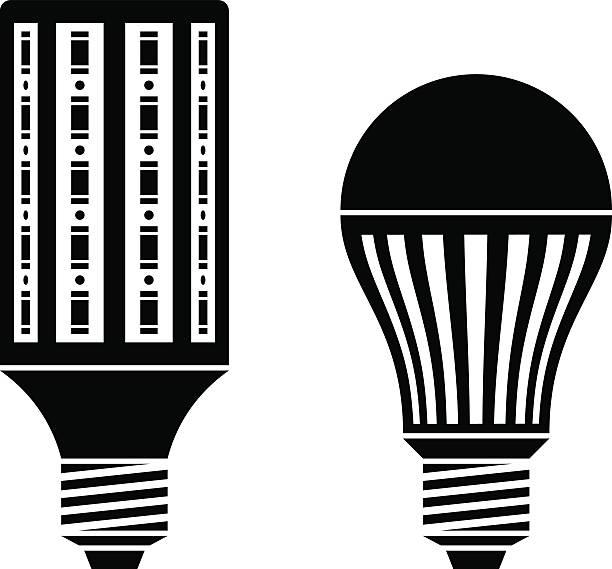 LED Energy Saving Lamp Bulb Symbols Vector Art Illustration