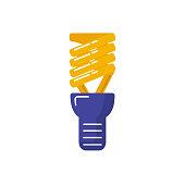 Energy saving light bulb icon in flat style.