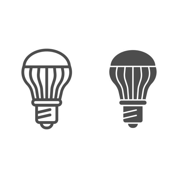 Energy saving light bulb line and glyph icon. Energy efficient lamp vector illustration isolated on white. Electricity saving lamp outline style design, designed for web and app. Eps 10. Energy saving light bulb line and glyph icon. Energy efficient lamp vector illustration isolated on white. Electricity saving lamp outline style design, designed for web and app. Eps 10 energy efficient lightbulb stock illustrations