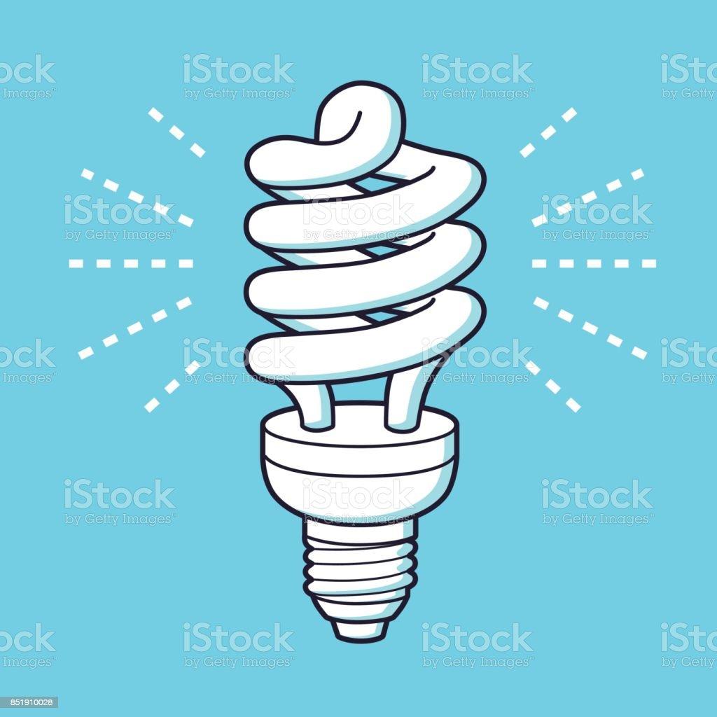 Energy saving light bulb or lamp glowing icon. vector art illustration