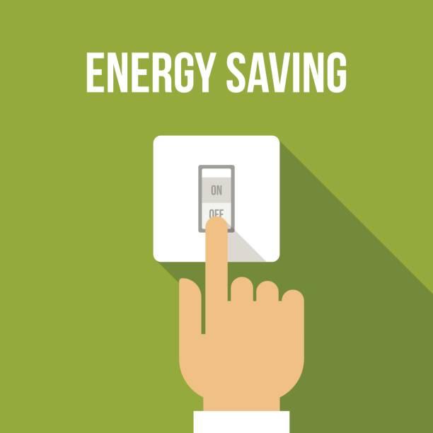 ilustraciones, imágenes clip art, dibujos animados e iconos de stock de ahorro de energía - interruptor