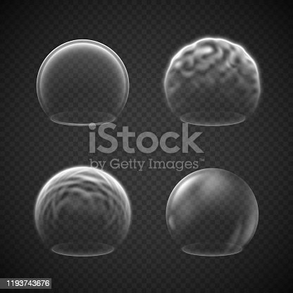 Energy shield effects isolated on transparency grid, a set of various force screens, defense or protective fields, deflector, force bubble, science fiction element or metaphor of high protection