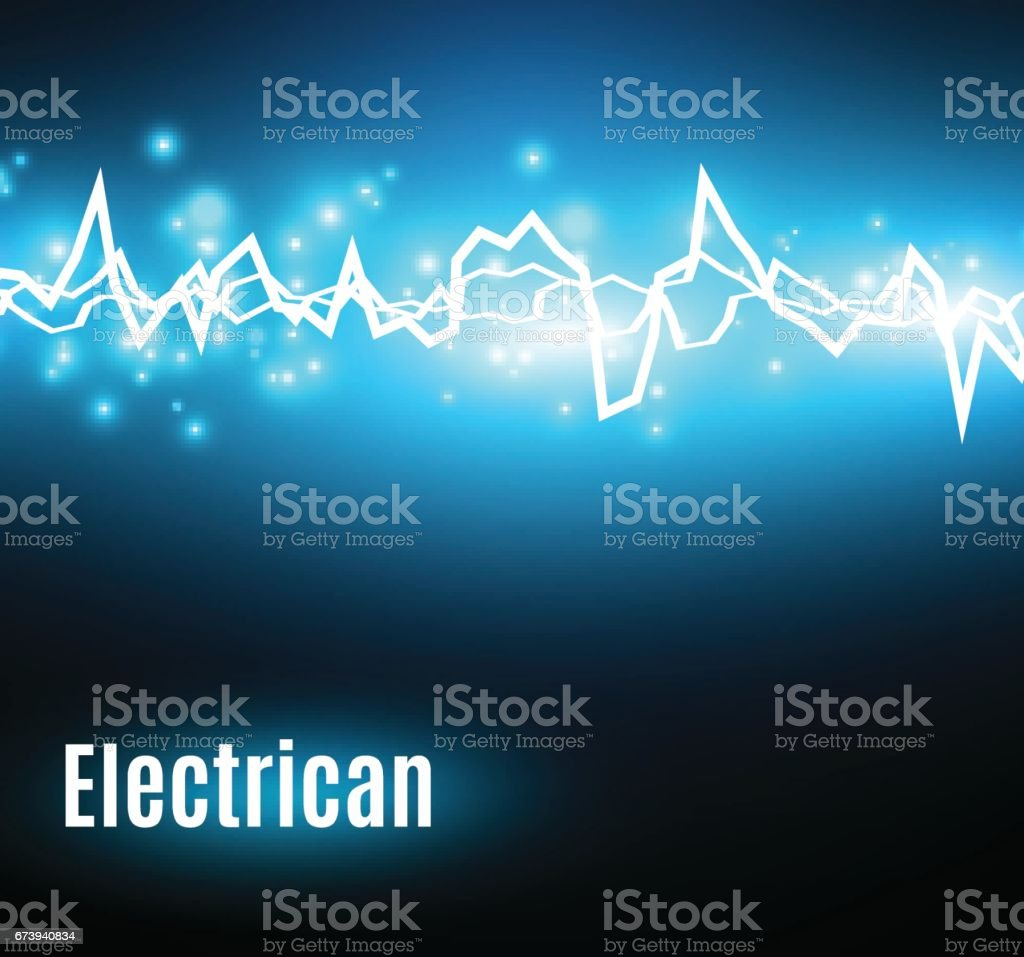 Energy shock effect with many glowing particles. Electric discharge on blue background - ilustração de arte vetorial