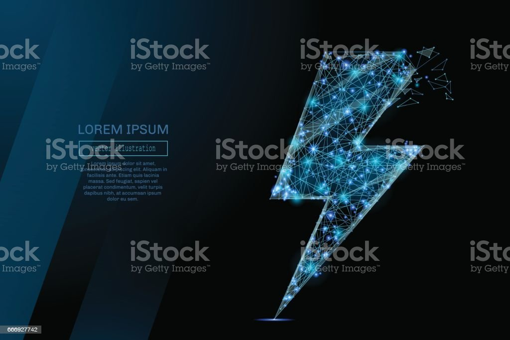 Energy sign or lightning low poly blue vector art illustration