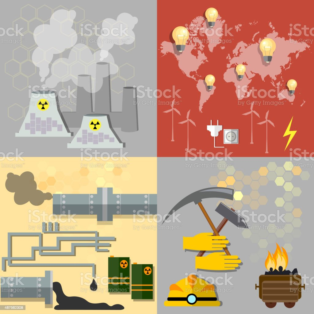 Energy sources: nuclear energy, wind energy,alternative energy vector art illustration