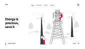 Energy Station Powerline in City Website Landing Page. Electrician Workers with Tools and Equipment Electric Transmission Tower Maintenance Web Page Banner. Cartoon Flat Vector Illustration, Line Art