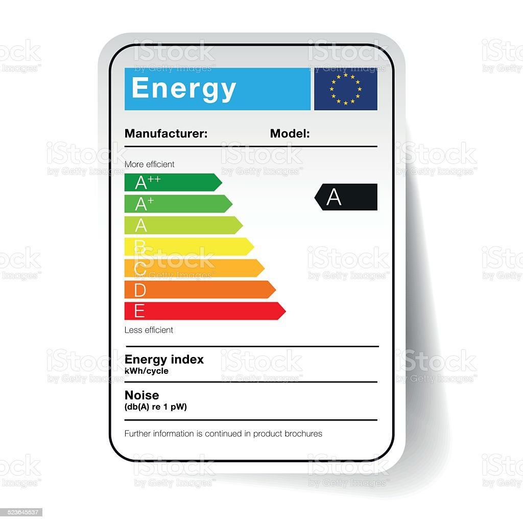 energy sticker -  classification in the form of a sticker vector art illustration